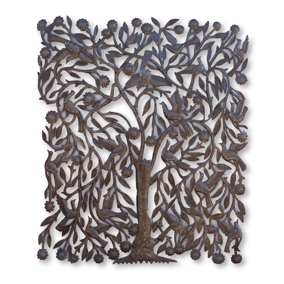 Tall Tree of Life Handcrafted in Haiti, One-of-a-Kind Home Decor Metal Art 30x35