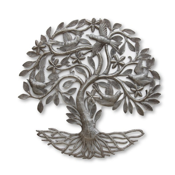 Floral Tree of Life Crafted in Haiti From Recycled Oil Barrels, One-of-a-Kind 23.5x23.5