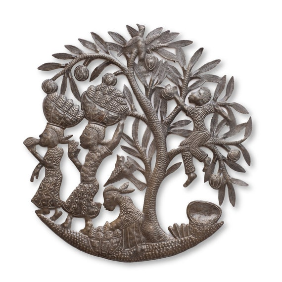 Market People, Spring Garden Wall Hanging Artwork,  Handcrafted in Haiti, One-of-a-Kind Haitian Metal Sculpture, 21x20