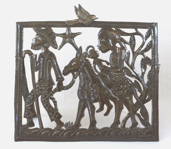 "Nativity,  Holiday Entertaining, Epiphany, Flight to Egypt, Festive Decor, Haiti Metal Art  20"" X 17"""