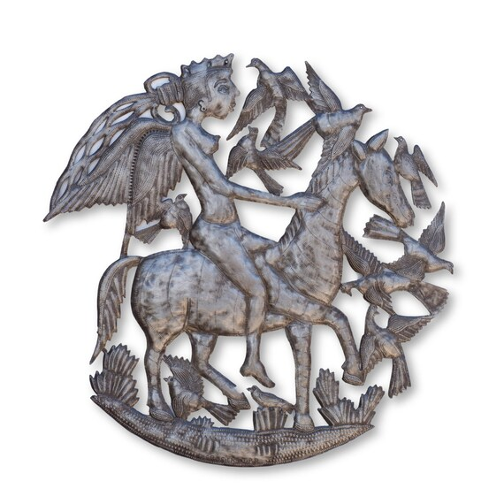Angelic Horsemen, Original Haitian Metal Artwork, Decorative, Handcrafted in Haiti, One-of-a-Kind Recycled Art 23.5x23