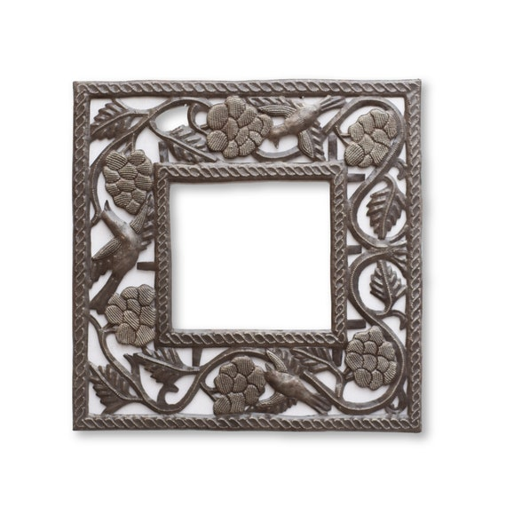 Square Grape Frame, Limited Ed Haitian Metal Art (Glass Not Included) 17.5x17.5