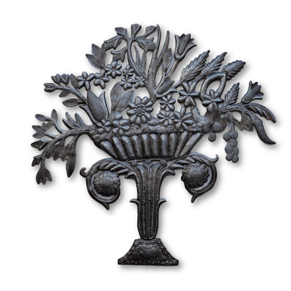 Flower Bouquet, Reclaimed Haitian Metal Sculpture, Limited Edition 22.5x22.5