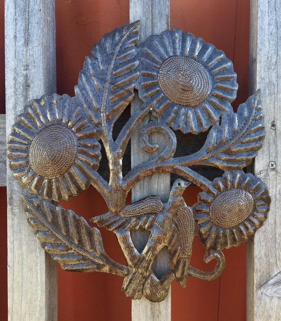 "Sunflower Bird Floral Home Decor, Handmade in Haiti  15"" x 15"""