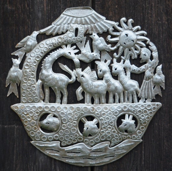"Noah's Ark Wall Sculpture, Metal Wall Art, Novelty Gift, Fair trade from Haiti, 15"" X 15"""