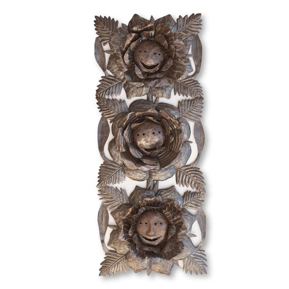 Flower Cabbages, Uniquely Handcrafted Haitian Metal Sculpture, Recycled Art 34x14