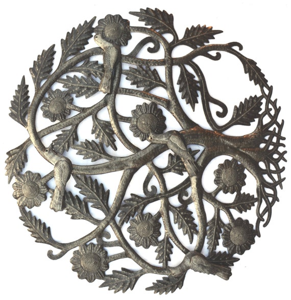 "Tree of Life, Garden 3-D Birds Metal Wall Art, Fair trade from Haiti, 23"" X 23"""