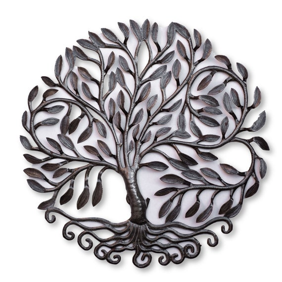 Haiti Metal Art, Handmade Oil Barrel Leafy Tree, One-of-a-Kind Handmade Sculpture, 23x23.5in.