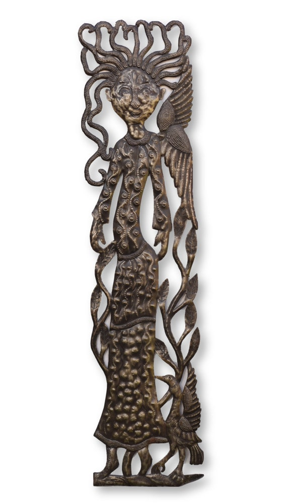 Tall Angel Handcrafted in Haiti From Recycled Oil Barrels, One-of-a-Kind Art 8.5x35.5
