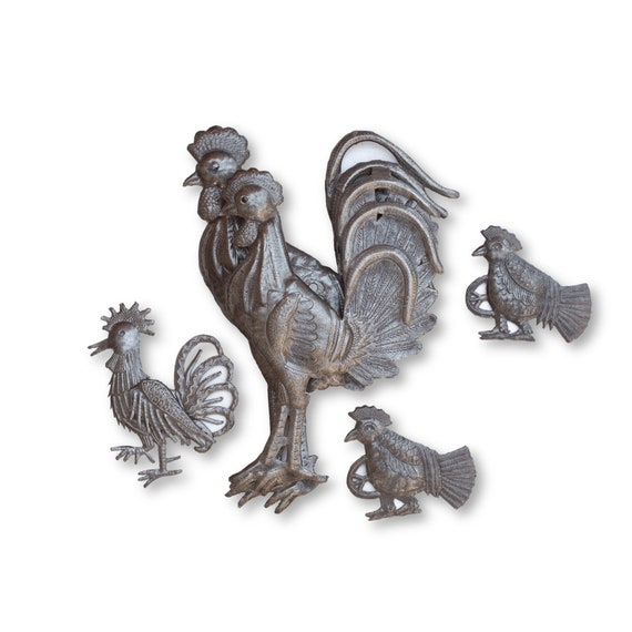 Rooster Decor, One-of-a-Kind Sustainable Barn Animal Haitian Metal Art