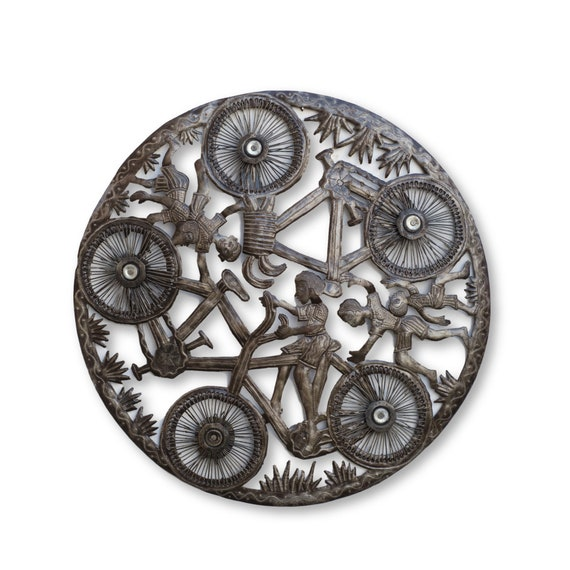 Haitian Home Sculpture, Bicycle Roundabout Handmade Fair Trade Art, One-of-a-Kind 24x24in.