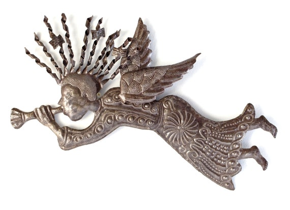 "Decorative Heralding Angel, Celestial Wall Hanging Art, Handmade in Haiti from Recycled Steel Drum Barrels,  22"" X 12"""