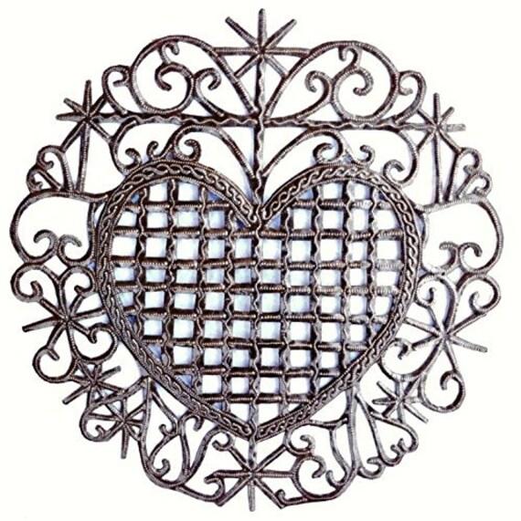 "Recycled Metal Sacred Heart, Veve, Haiti 11"""