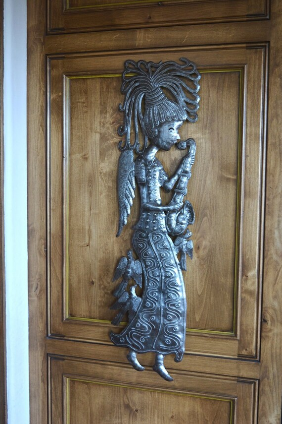 "Recycled Metal Garden Angel, Large Sculpture, Playing Music Wall Art, 9.5"" X 34"""
