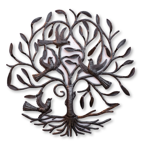 Haitian Metal Decor, Flying Low on the Tree of Life, One-of-a-Kind Handmade Art 23x23.5in