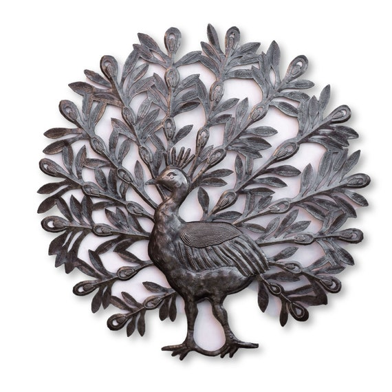 Haitian Metal Art, Garden Peacock Handmade From Recycled Metal, One-of-a-Kind Fair Trade 22x22in.