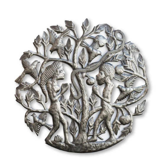 Haitian Metal Art, Adam & Eve Eating Forbidden Fruit, One-of-a-Kind Fair Trade 23x23in