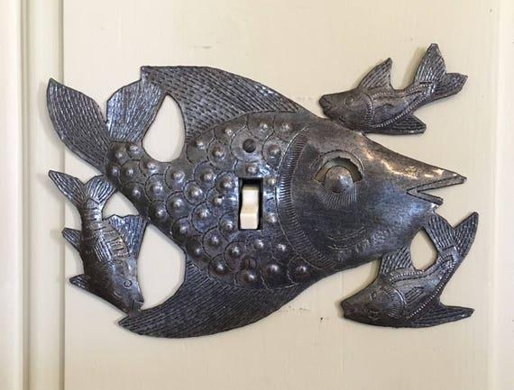"Lighting, Metal Light Covers, Swimming, Fish, Haiti, Handmade From Recycle Oil Drum (Switch)  9"" x 6"" Lighting"