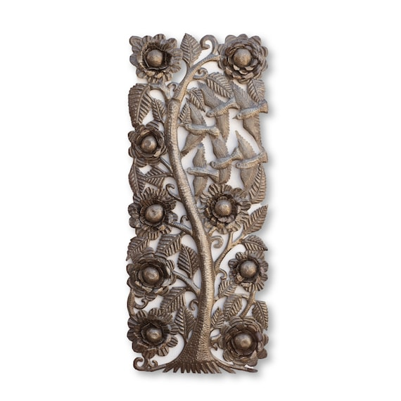 Big Floral Tree with 3D Flowers, One-of-a-Kind Haitian Metal Sculpture, 35.5x15