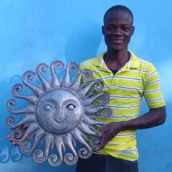 Summer Spiral Sun, Quality Haitian Metal Sculpture, Limited Edition 22 1/2 x 22 3/4