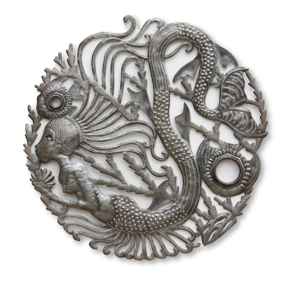 Mermaid with Fish Duo Handmade in Haiti, One-of-a-Kind Metal Sculpture 24x24