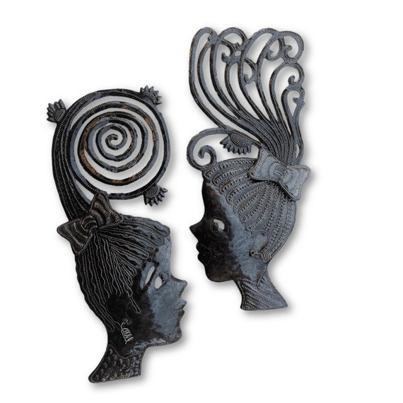 "Metal Masks, Silhouette Girls, Decorative Wall Hanging, Collectible Mask Sculptures, Eclectic, Unique Steel Metal Masks from Haiti 7"" x 17"""