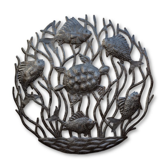 Fishy Turtle, Sea Life Metal Art From Haiti, One-of-a-Kind Sculpture 22.5x22.5