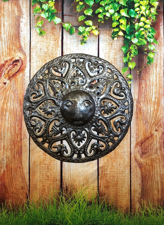 """Metal Sun - Handcrafted Wall Art From Haiti, Indoor and outdoor display, Recycled Oil Drums 17"""" x 17"""""""