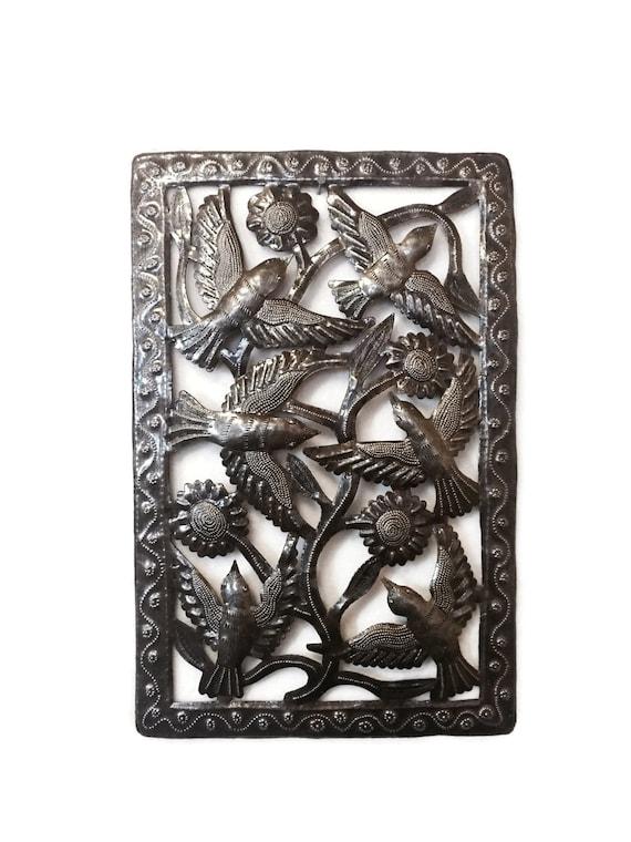 """Metal Indoor and Outdoor Birds and Flowers, flight of birds, Handmade in Haiti  11"""" X 17"""""""