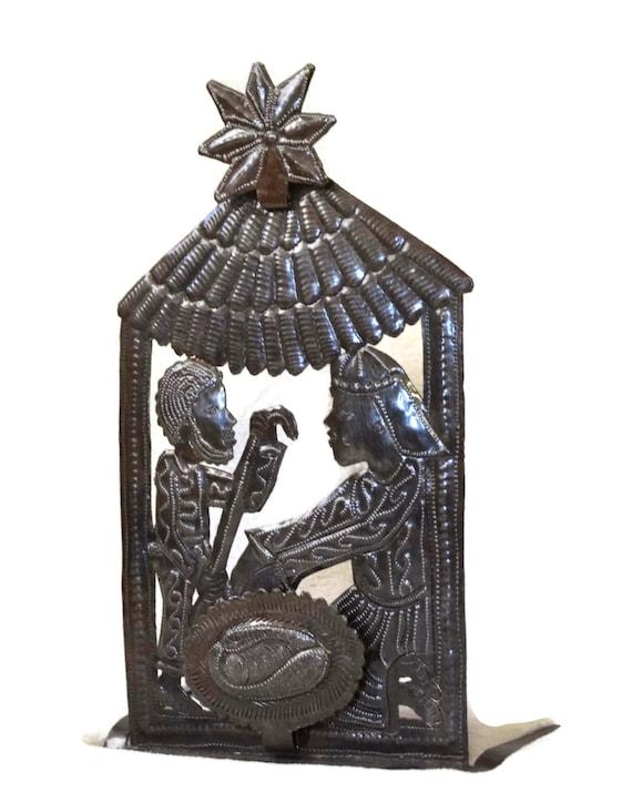 "Nativity Devotional Christmas Decor, Holiday Decor, Handmade in Haiti 7"" x 12"""