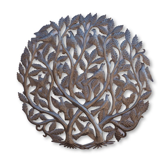 Double Intertwined Tree of Life, One-of-a-Kind Haitian Metal Sculpture, 34.5x34.5