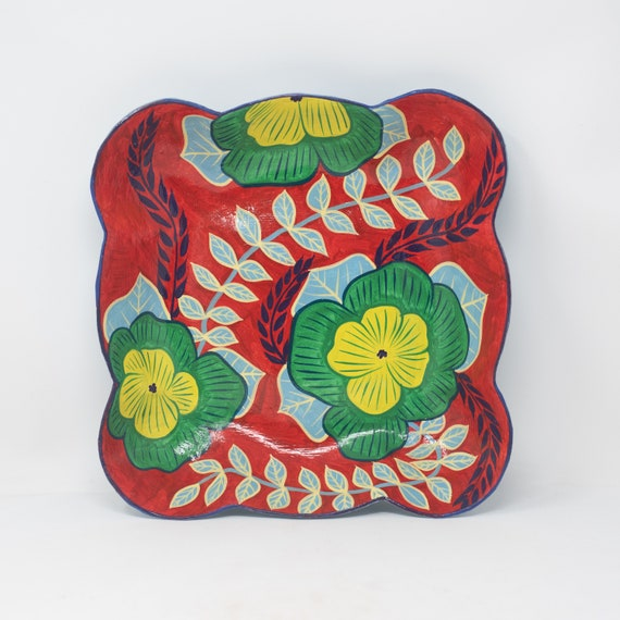 """Green & Yellow Flowered Paper Mache Bowl, One-of-a-Kind Hand Painted Plate 10.25""""x10.25"""""""
