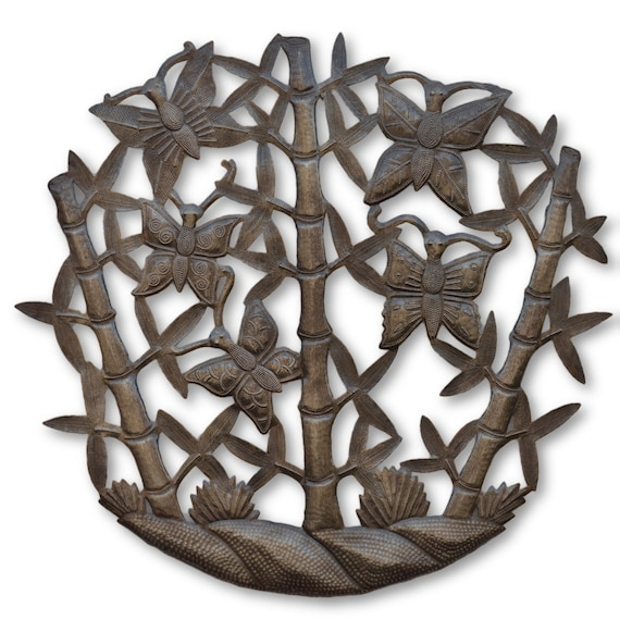 Bamboo Butterflies, Reclaimed One-of-a-Kind Art, Handcrafted Metal Sculptures, eco-friendly gift  22 x 23