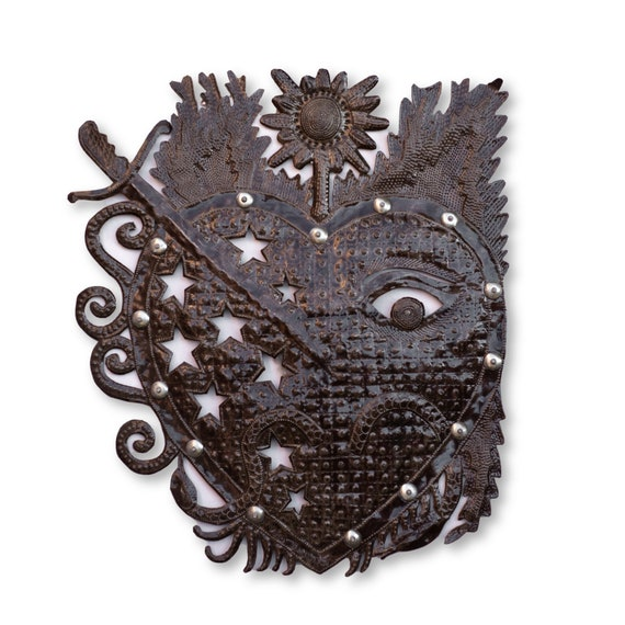 Haitian Metal Home Decor, Voodoo Heart Handcrafted in Haiti, One-of-a-Kind Fair Trade Art 22.5x19in