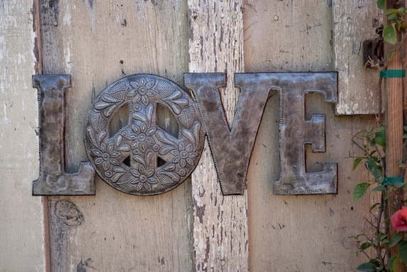 "Love & Peace Metal Wall Art, Reclaimed Word Sign, Home Decor, Handmade in Haiti 20""x 8"""