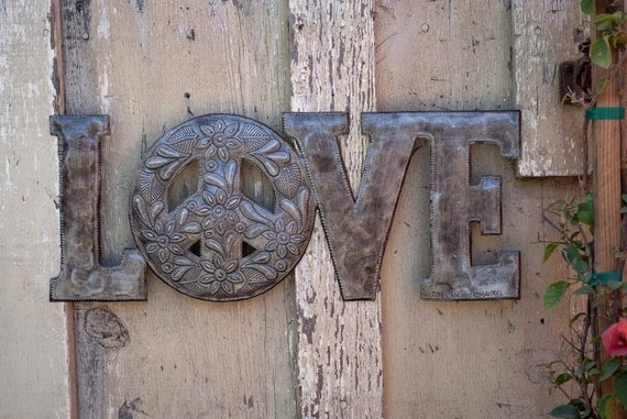 "Love & Peace Artwork, Metal Reclaimed Word Sign, Home Decor, Decorative Art, Handmade in Haiti 20""x 8"""