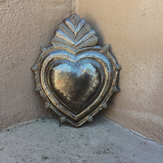 "Rustic Flaming Milagro Heart, Charming Inspirational Wall Decor, Handmade in Haiti from recycled oil drums 7""X 9"""