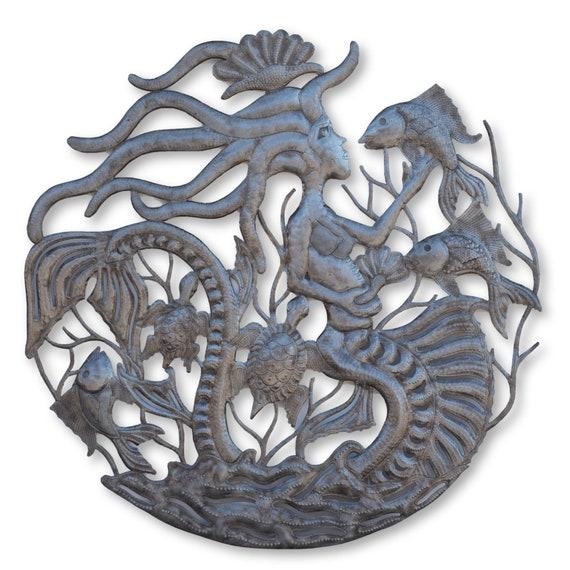 Mermaid & Fish Sculpture, Sea Life Nautical Wall Art, One-of-a-Kind Haitian Metal Sculpture, Fair Trade 33.5x33