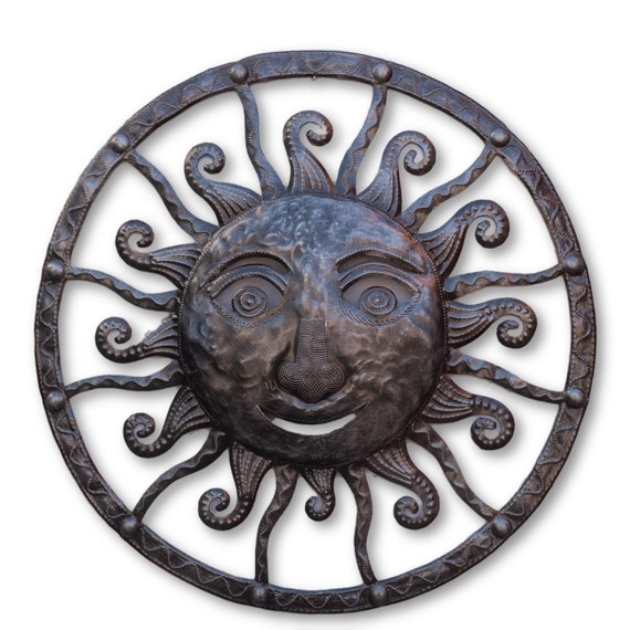 Framed Sun, Handcrafted Reclaimed Metal Sculpture, Limited Edition 22x22