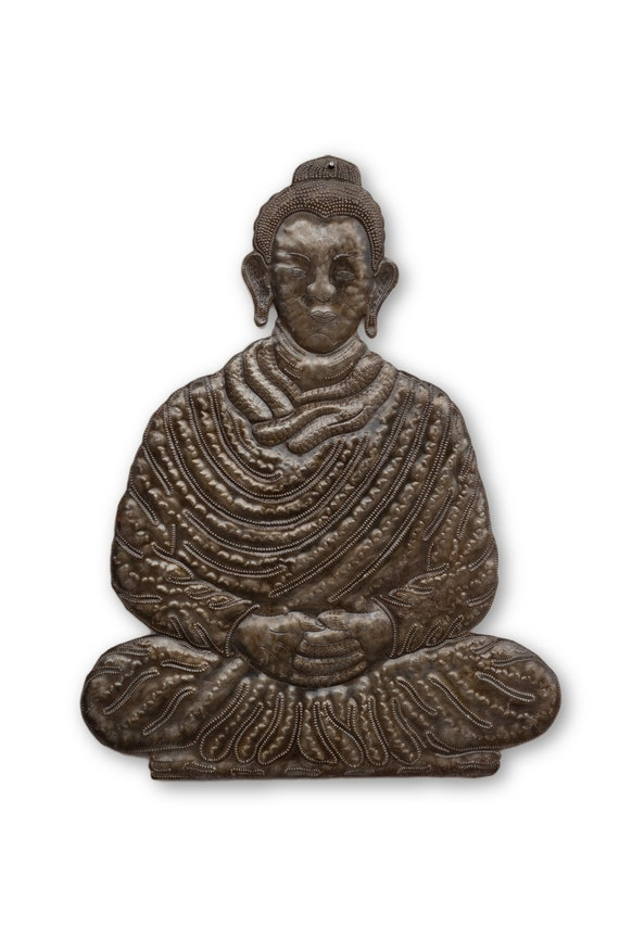 Buddhism Sculpture Made From Reclaimed Metal, One-of-a-Kind 17.5x14