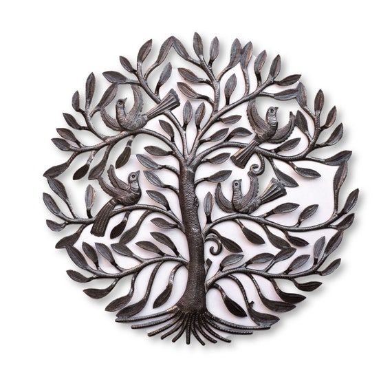 Recycled Metal Art, Tree of Life Handmade in Haiti, One-of-a-Kind Fair Trade Sculpture 23x23.5in