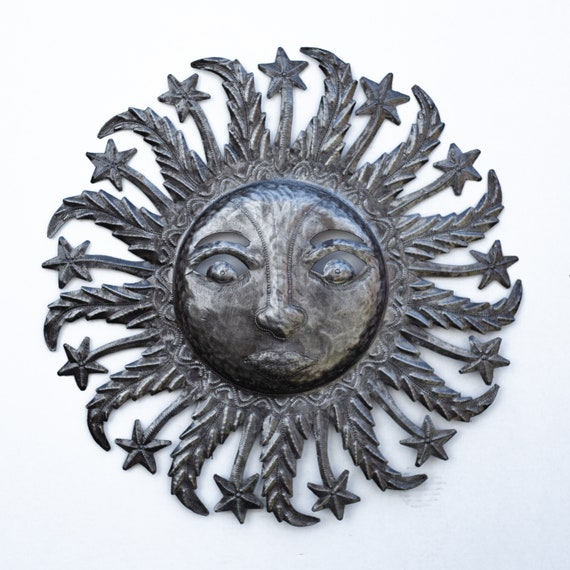 Large Celestial Sun, Decorative Backyard Patio Artwork, Handcrafted in Haiti From Recycled Metal, One-of-a-Kind 22x22