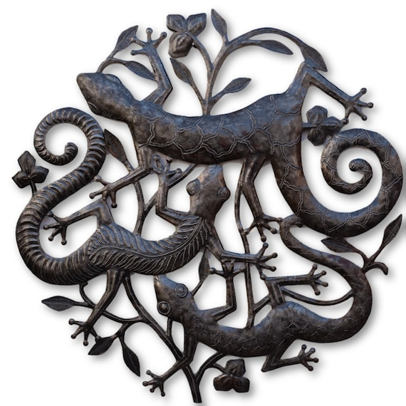 Gecko Trio, Handcrafted Quality Haitian Metal Art, One-of-a-Kind 22x22