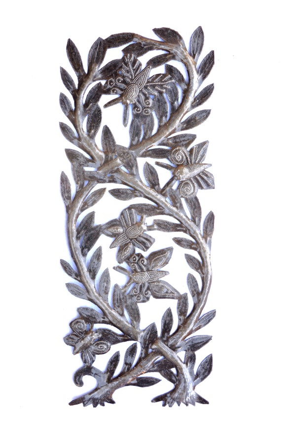 "Tree of Life, Branches filled with Butterflies, Recycled Metal Steel Barrel 7 1/2"" x 17 1/2"""