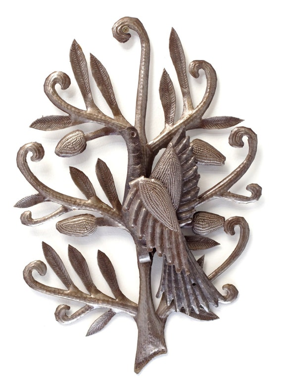 "Nesting Bird Garden Haiti Metal Art, Novelty gift, rustic farmhouse home decor 14"" x 17"""