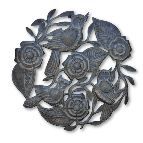 Roses & Owls,  Quality Handcrafted Haitian Metal Art, One-of-a-Kind 22.5x22.5