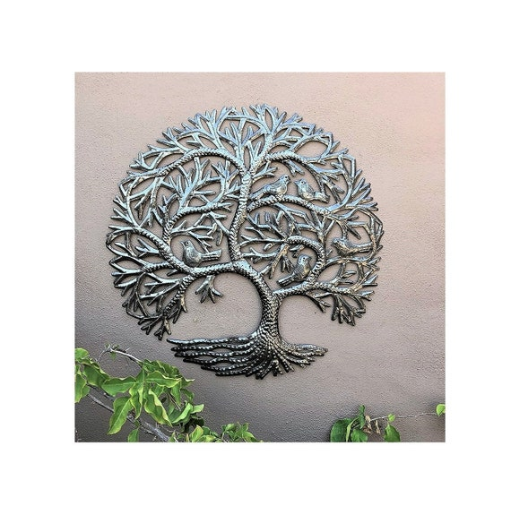 Whispering Garden Metal Tree with birds, Indoor and Outdoor Wall Decor 23 inch.