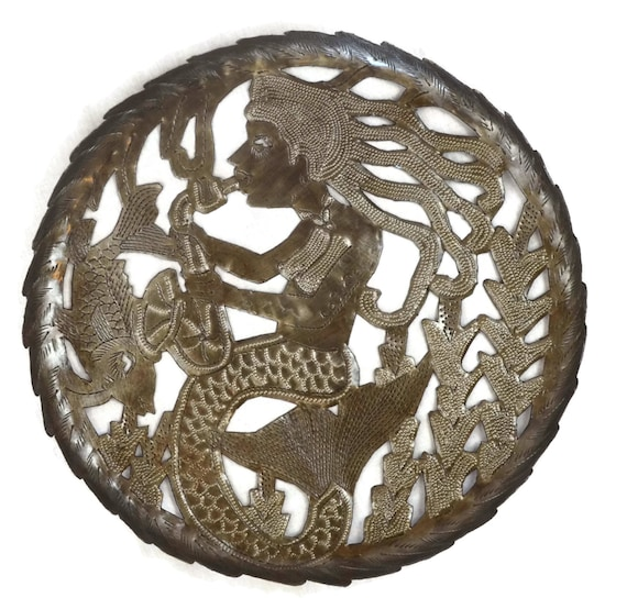 "Mermaid Sea bowl, Fruit bowl, Centerpiece, Haiti Metal Art 11"" x 11"""