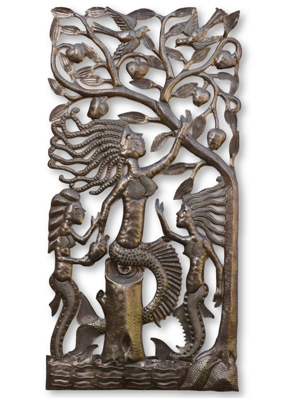 Mermaid Tree of Life Handcrafted in Haiti From Recycled Metal, One-of-a-Kind 17x35