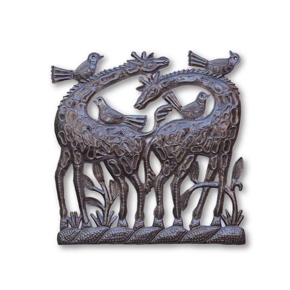 Tropical Duo Giraffes, Metal Wall Art Sculpture, Handmade in Haiti 12""